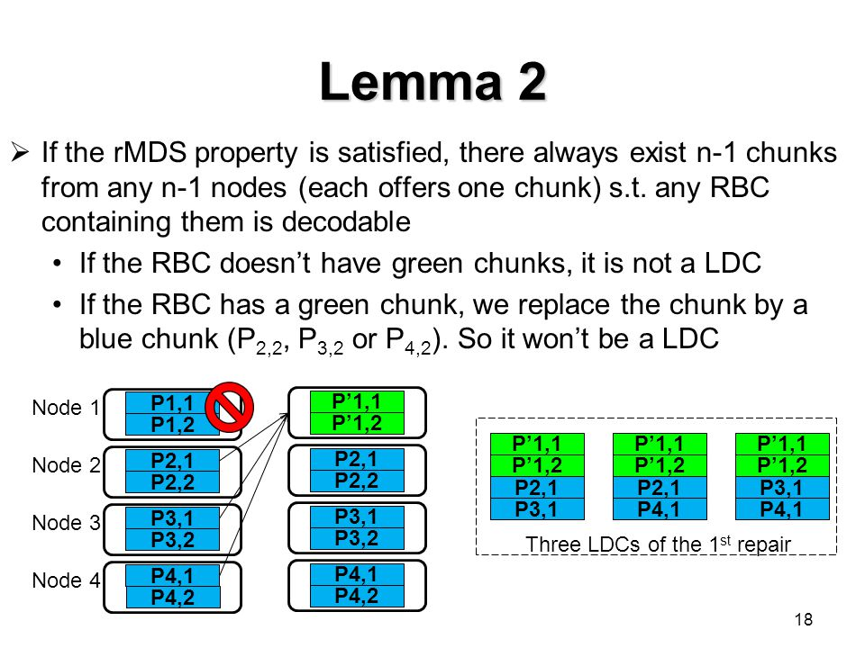 Lemma 2  If the rMDS property is satisfied, there always exist n-1 chunks from any n-1 nodes (each offers one chunk) s.t. any RBC containing them is