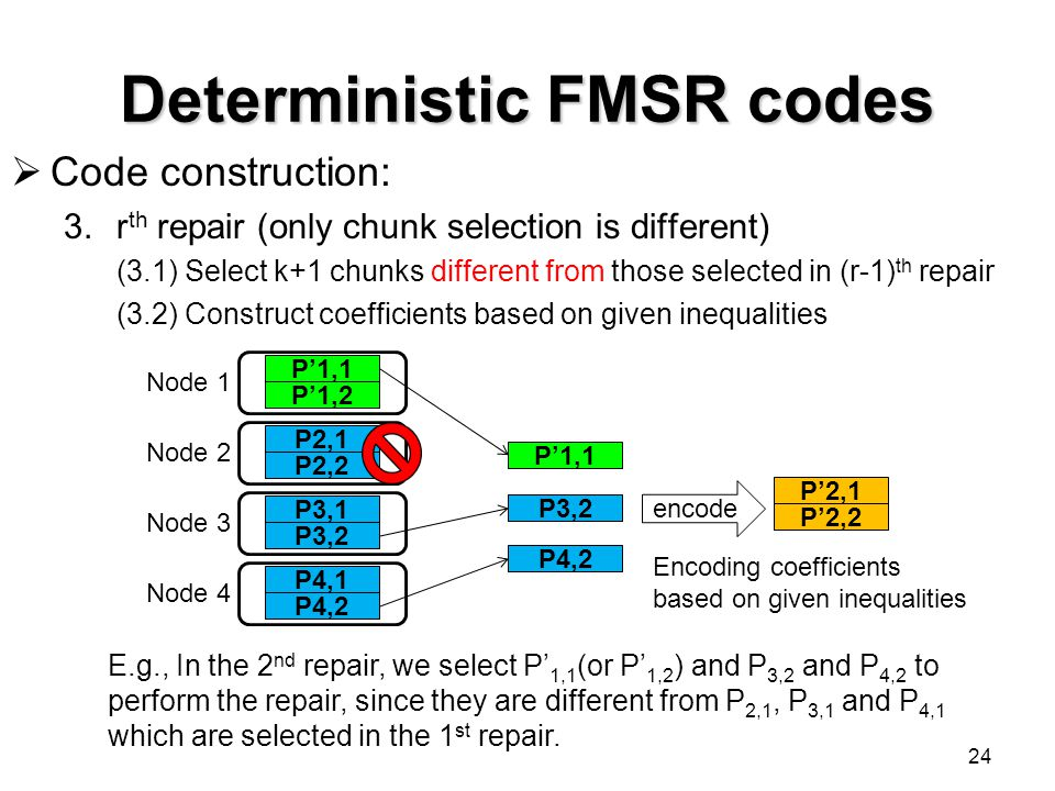 Deterministic FMSR codes 24  Code construction: 3.r th repair (only chunk selection is different) (3.1) Select k+1 chunks different from those select
