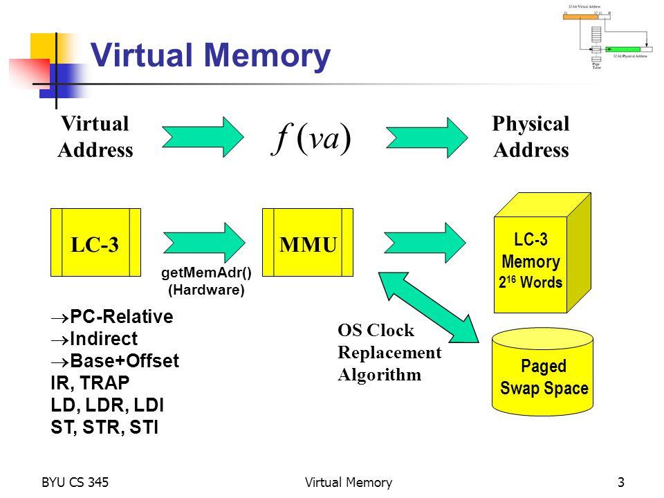 BYU CS 345Virtual Memory4 Project 4 – Virtual Memory unsigned short int *getMemAdr(int va, int rwFlg) { unsigned short int pa; // turn off virtual addressing for system RAM if (va < 0x3000) return &memory[va]; // calculate physical from virtual address pa = va; // return physical memory address return &memory[pa]; } // end getMemAdr