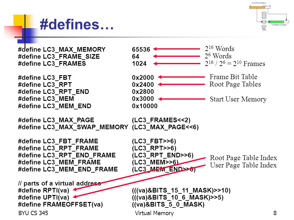 #defines… // definitions within a root or user table page #define DEFINED(e1)((e1)&BIT_15_MASK) #define DIRTY(e1)((e1)&BIT_14_MASK) #define REFERENCED(e1)((e1)&BIT_13_MASK) #define PINNED(e1)((e1)&BIT_12_MASK) #define FRAME(e1)((e1)&BITS_9_0_MASK) #define PAGED(e2)((e2)&BIT_15_MASK) #define SWAPPAGE(e2)((e2)&BITS_12_0_MASK) #define MEMWORD(a)(memory[a]) #define MEMLWORD(a)((memory[a]<<16)+memory[(a)+1]) #define SET_DEFINED(e1)((e1)|BIT_15_MASK) #define SET_DIRTY(e1)((e1)|BIT_14_MASK) #define SET_REF(e1)((e1)|BIT_13_MASK) #define SET_PINNED(e1)((e1)|BIT_12_MASK) #define SET_PAGED(e2)((e2)|BIT_15_MASK) #define CLEAR_DEFINED(e1)((e1)&~BIT_15_MASK) #define CLEAR_DIRTY(e1)((e1)&~BIT_14_MASK) #define CLEAR_REF(e1)((e1)&~BIT_13_MASK) #define CLEAR_PINNED(e1)((e1)&~BIT_12_MASK) BYU CS 345Virtual Memory9