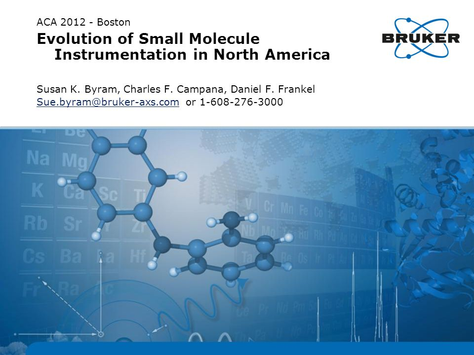 ACA 2012 - Boston Evolution of Small Molecule Instrumentation in North America Susan K.