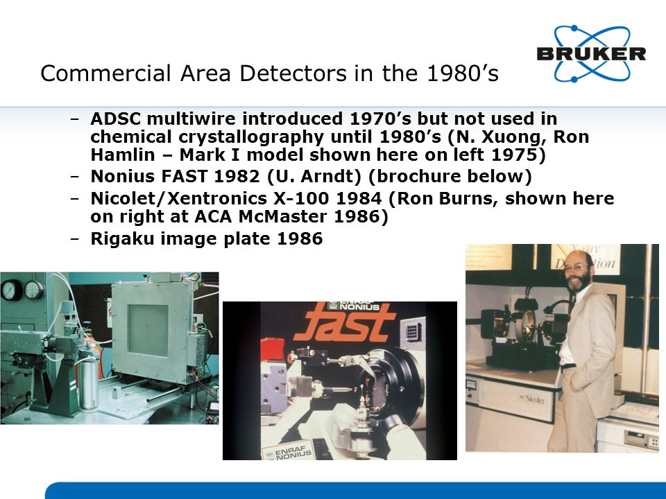 Commercial Area Detectors in the 1980's –ADSC multiwire introduced 1970's but not used in chemical crystallography until 1980's (N.