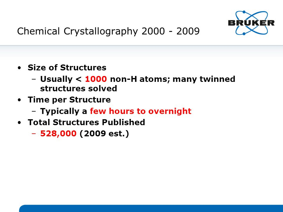 Chemical Crystallography 2000 - 2009 Size of Structures –Usually < 1000 non-H atoms; many twinned structures solved Time per Structure –Typically a few hours to overnight Total Structures Published –528,000 (2009 est.)