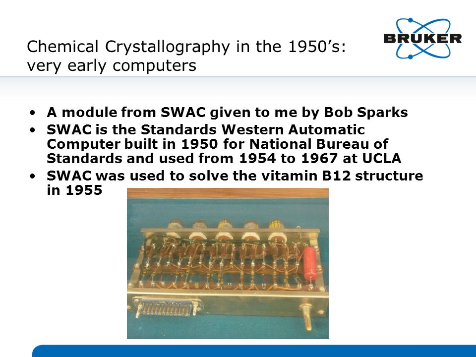 1993: the SMART CCD system for chemical crystallography SMART CCD (shown right) revolutionized the chemical crystallography experiment in 1993 (R&D 100 award ceremony 1994 below: the only picture of Bob Sparks in a tuxedo!) SMART collected FASTER DATA on a Mo sealed tube than feasible on a Mo point detector rotating anode hours, not days, for structures electron density studies in days, not months SMART measured highly redundant data, thus giving BETTER DATA for difficult crystals very small samples very large unit cells eg 50- 75 A