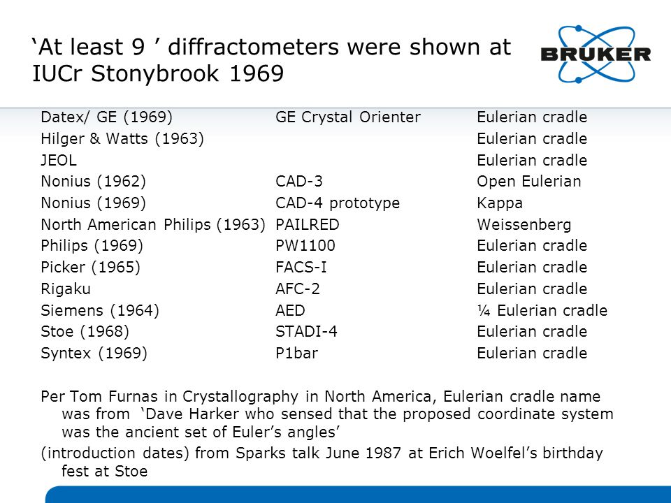 'At least 9 ' diffractometers were shown at IUCr Stonybrook 1969 Datex/ GE (1969)GE Crystal OrienterEulerian cradle Hilger & Watts (1963)Eulerian cradle JEOLEulerian cradle Nonius (1962)CAD-3Open Eulerian Nonius (1969)CAD-4 prototypeKappa North American Philips (1963)PAILREDWeissenberg Philips (1969)PW1100Eulerian cradle Picker (1965)FACS-IEulerian cradle RigakuAFC-2Eulerian cradle Siemens (1964)AED¼ Eulerian cradle Stoe (1968)STADI-4Eulerian cradle Syntex (1969)P1barEulerian cradle Per Tom Furnas in Crystallography in North America, Eulerian cradle name was from 'Dave Harker who sensed that the proposed coordinate system was the ancient set of Euler's angles' (introduction dates) from Sparks talk June 1987 at Erich Woelfel's birthday fest at Stoe