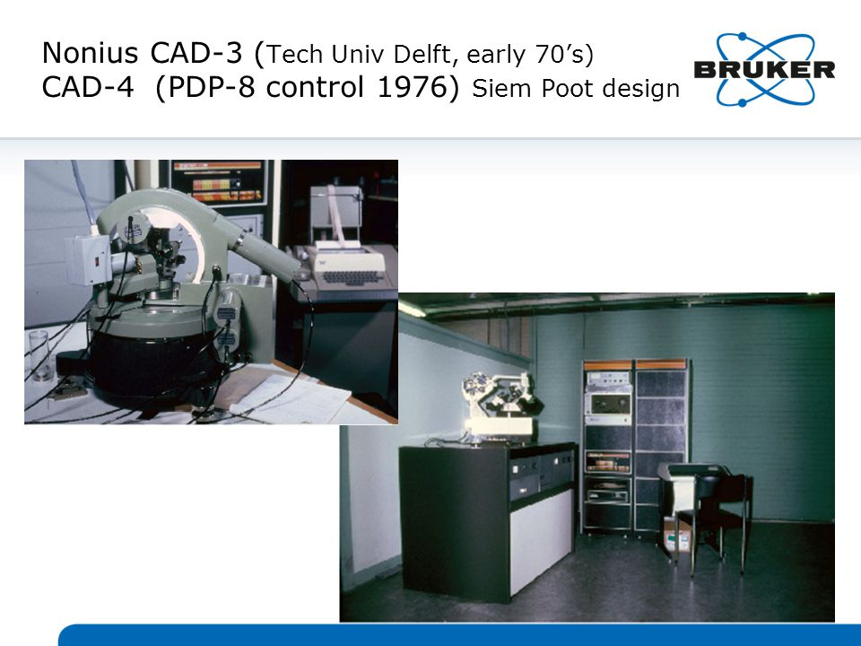 Nonius CAD-3 ( Tech Univ Delft, early 70's) CAD-4 (PDP-8 control 1976) Siem Poot design