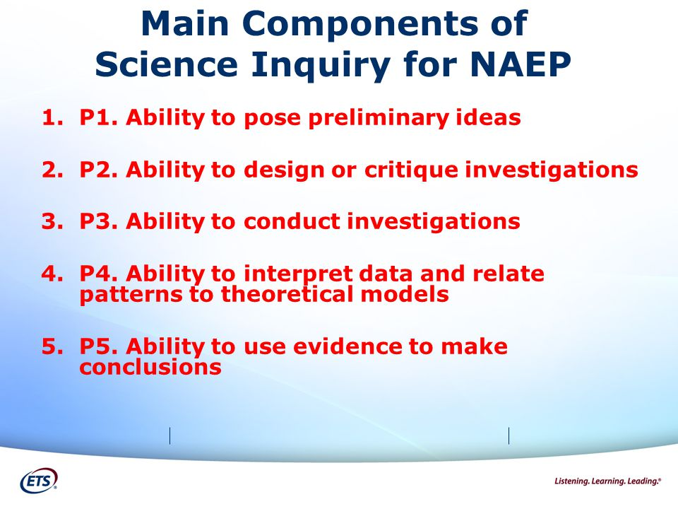 Main Components of Science Inquiry for NAEP 1.P1. Ability to pose preliminary ideas 2.P2.