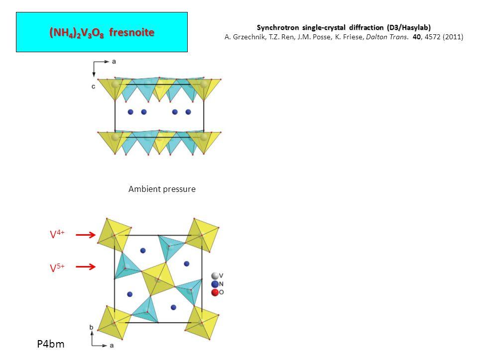 (NH 4 ) 2 V 3 O 8 fresnoite V 4+ V 5+ Ambient pressure 6.90 GPa P4bm Synchrotron single-crystal diffraction (D3/Hasylab) A.
