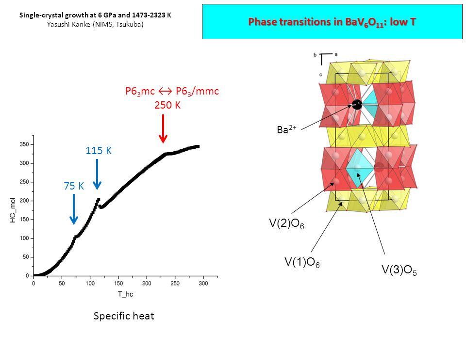 V(1)O 6 V(2)O 6 Ba 2+ P6 3 mc ↔ P6 3 /mmc 250 K 115 K 75 K Specific heat V(3)O 5 Phase transitions in BaV 6 O 11 : low T Single-crystal growth at 6 GPa and 1473-2323 K Yasushi Kanke (NIMS, Tsukuba)