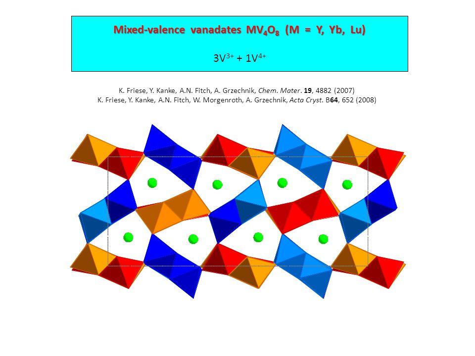 Mixed-valence vanadates MV 4 O 8 (M = Y, Yb, Lu) 3V 3+ + 1V 4+ K.