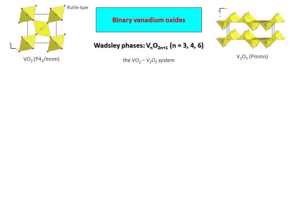 Wadsley phases: V n O 2n+1 (n = 3, 4, 6) the VO 2 – V 2 O 5 system VO 2 (P4 2 /mnm) V 2 O 5 (Pmmn) Binary vanadium oxides Rutile type