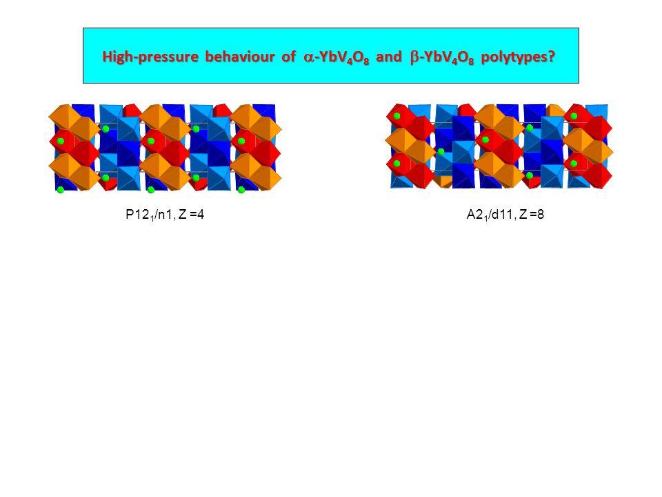 High-pressure behaviour of  -YbV 4 O 8 and  -YbV 4 O 8 polytypes P12 1 /n1, Z =4A2 1 /d11, Z =8