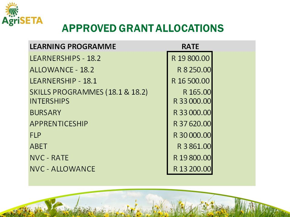APPROVED GRANT ALLOCATIONS