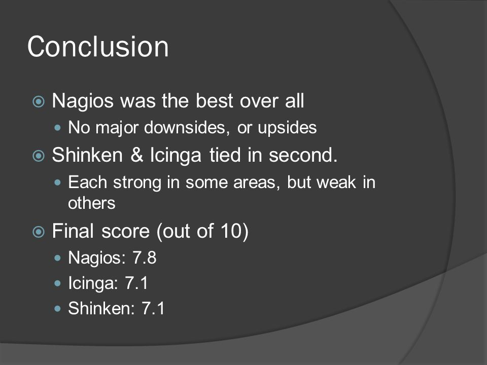 Conclusion  Nagios was the best over all No major downsides, or upsides  Shinken & Icinga tied in second.