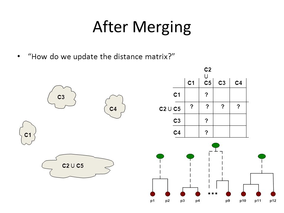 After Merging How do we update the distance matrix C1 C4 C2 U C5 C3 .