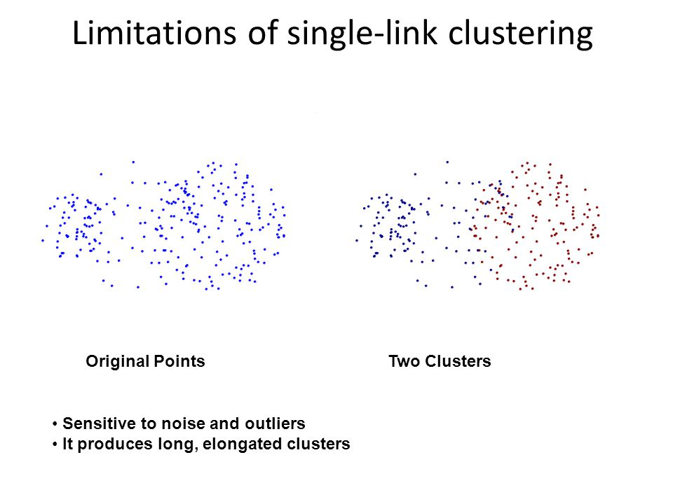 Limitations of single-link clustering Original Points Two Clusters Sensitive to noise and outliers It produces long, elongated clusters