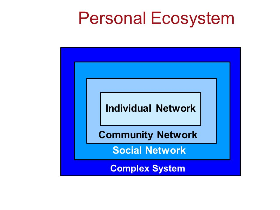 Complex System Social Network Community Network Individual Network Personal Ecosystem