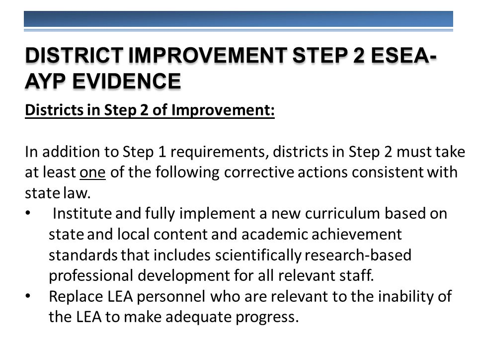 DISTRICT IMPROVEMENT STEP 2 ESEA- AYP EVIDENCE Districts in Step 2 of Improvement: In addition to Step 1 requirements, districts in Step 2 must take at least one of the following corrective actions consistent with state law.