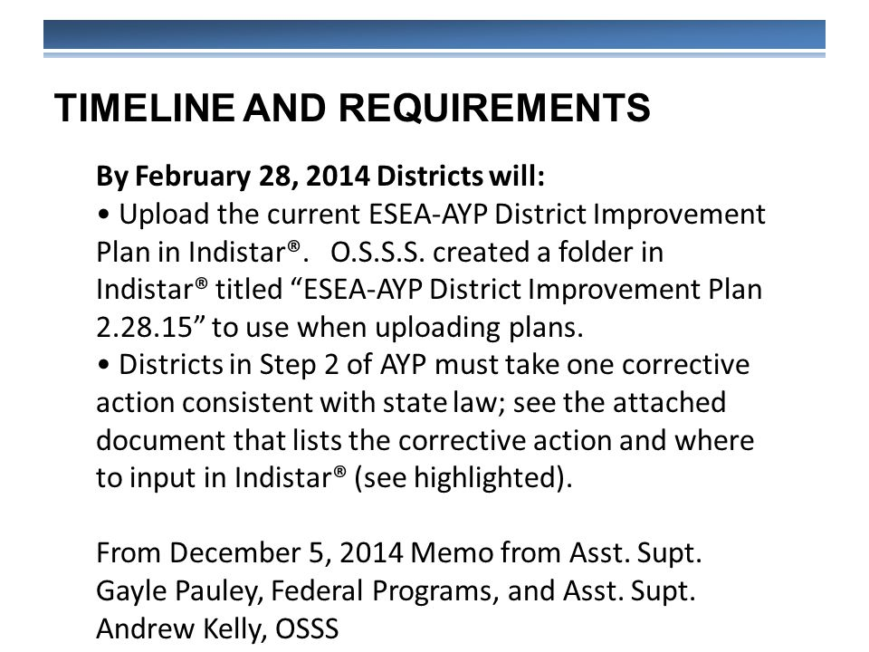 TIMELINE AND REQUIREMENTS By February 28, 2014 Districts will: Upload the current ESEA-AYP District Improvement Plan in Indistar®.