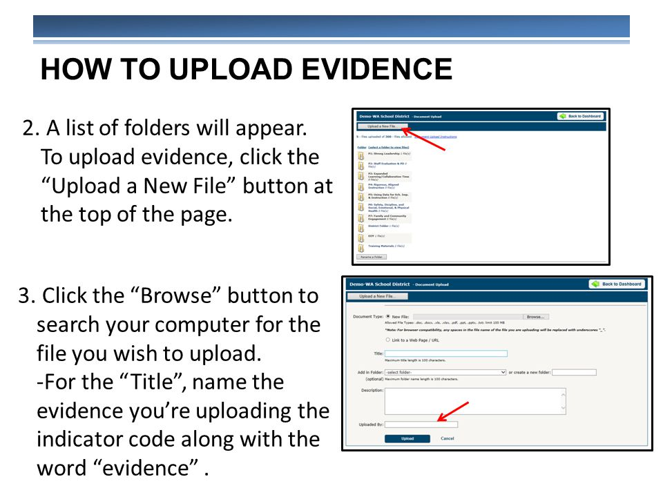 HOW TO UPLOAD EVIDENCE 2. A list of folders will appear.