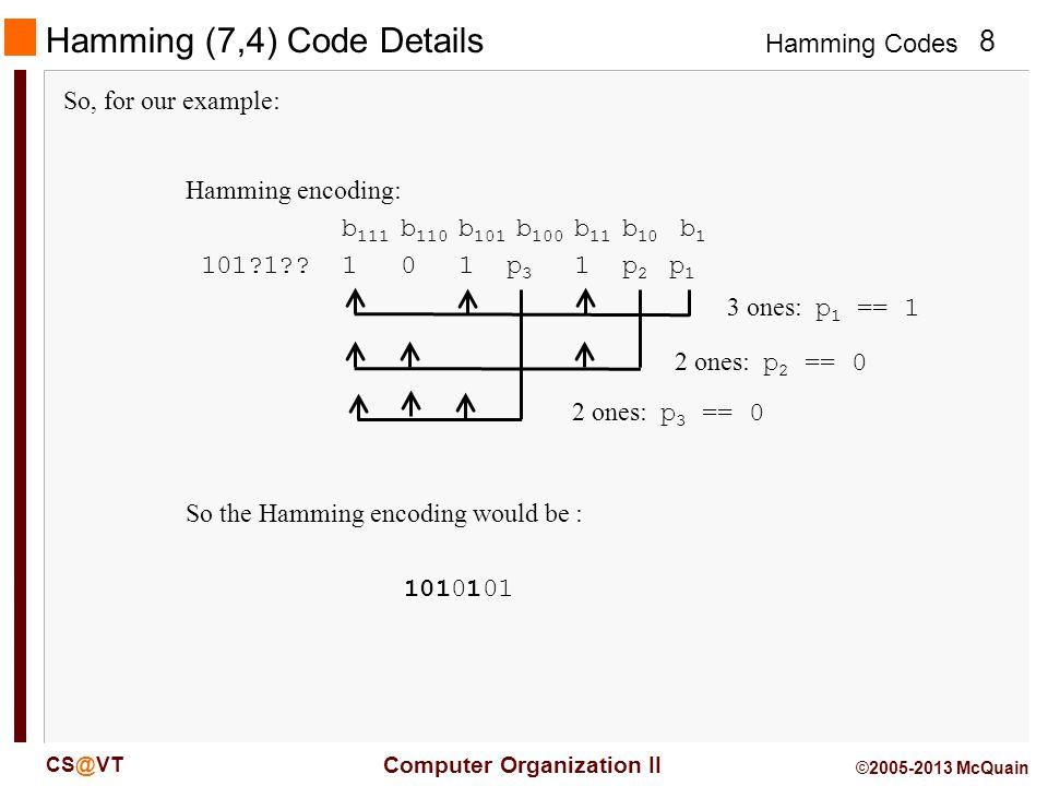 Hamming Codes 9 Computer Organization II CS@VT ©2005-2013 McQuain Error Correction A distance-3 code, like the Hamming (7,4) allows us two choices.