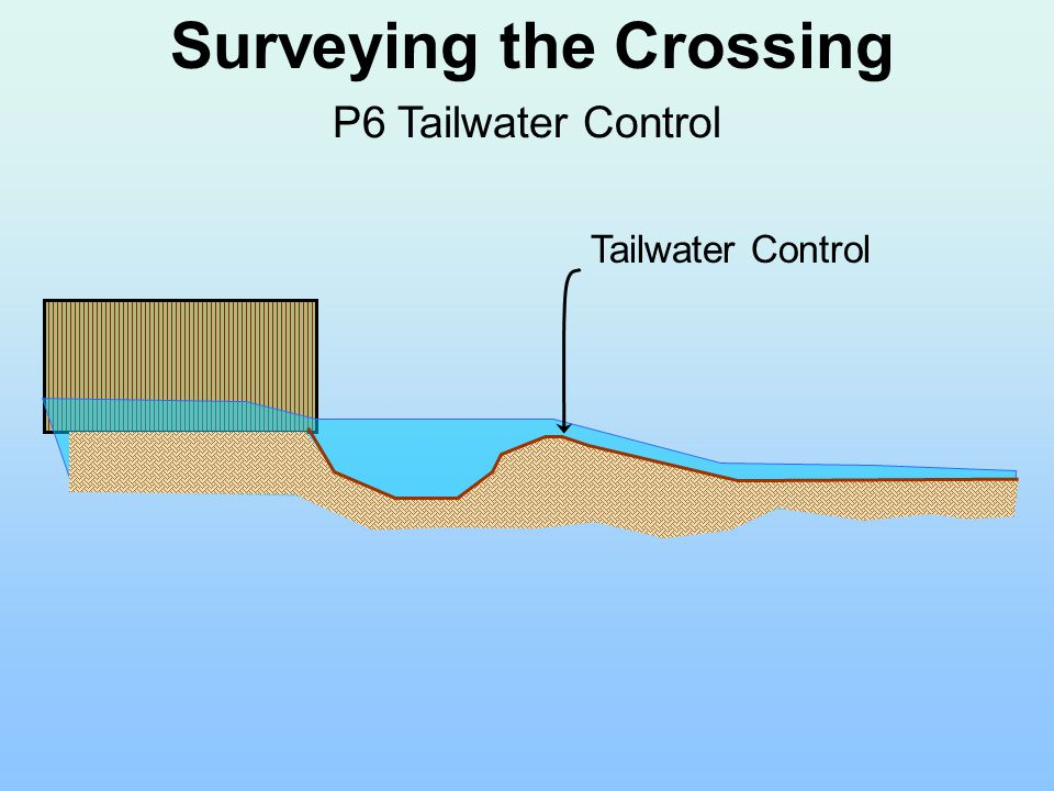 Surveying the Crossing P6 Tailwater Control Tailwater Control
