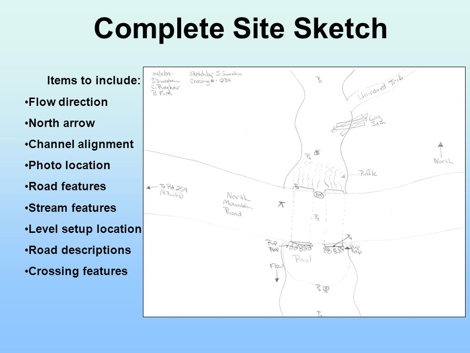 Complete Site Sketch Items to include: Flow direction North arrow Channel alignment Photo location Road features Stream features Level setup location Road descriptions Crossing features