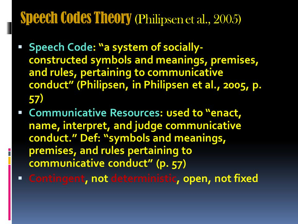 Speech Codes Theory (Philipsen et al., 2005) WWhat's the main point.
