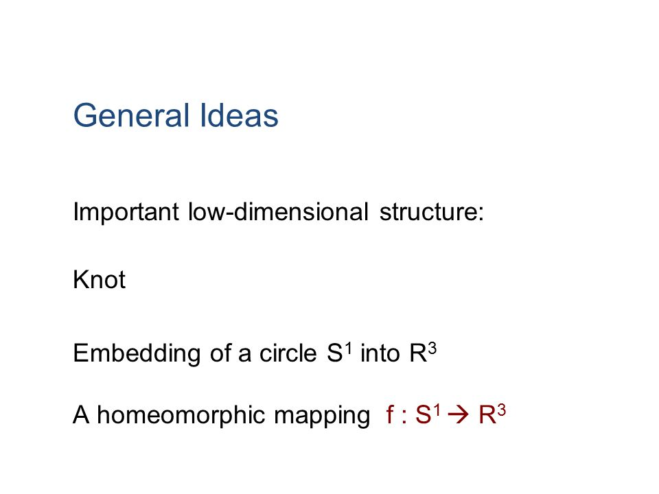 General Ideas Important low-dimensional structure: Knot Embedding of a circle S 1 into R 3 A homeomorphic mapping f : S 1  R 3