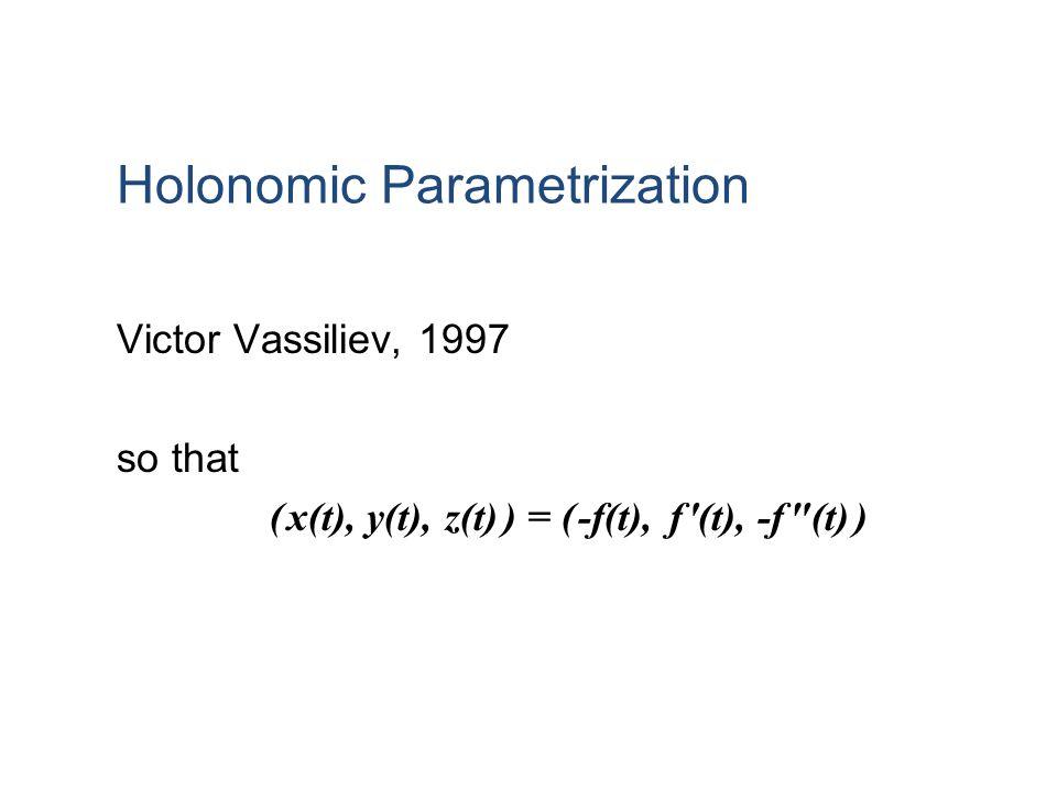 Holonomic Parametrization Victor Vassiliev, 1997 so that ( x(t), y(t), z(t) ) = ( -f(t), f (t), -f (t) )