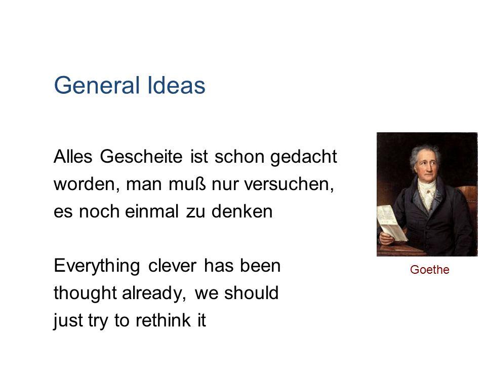 General Ideas Alles Gescheite ist schon gedacht worden, man muß nur versuchen, es noch einmal zu denken Everything clever has been thought already, we should just try to rethink it Goethe