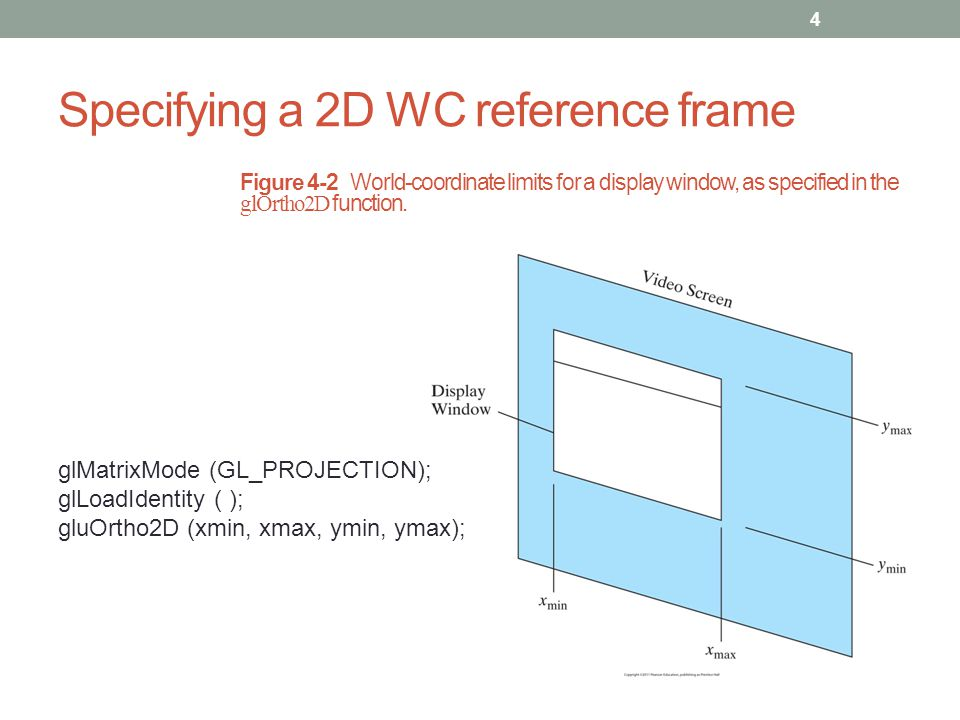 Specifying a 2D WC reference frame 4 Figure 4-2 World-coordinate limits for a display window, as specified in the glOrtho2D function. glMatrixMode (GL