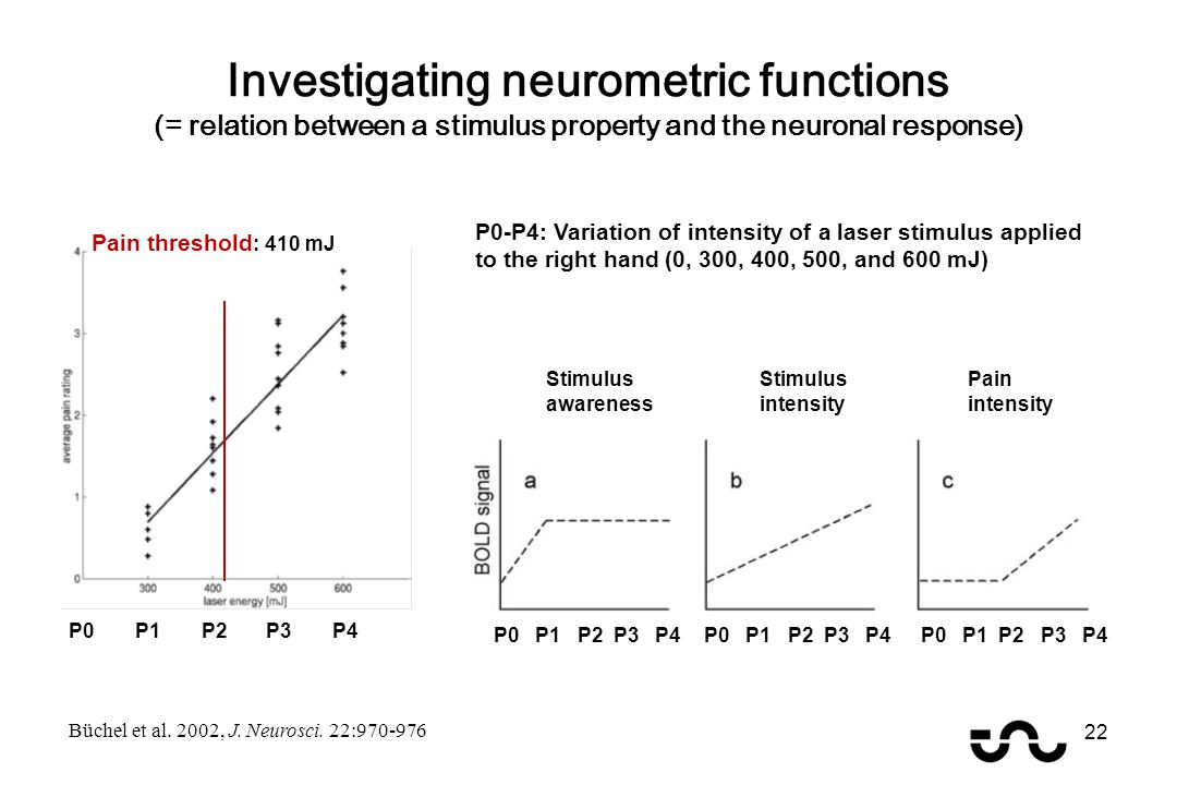 Investigating neurometric functions (= relation between a stimulus property and the neuronal response) Stimulus awareness Stimulus intensity Pain intensity Pain threshold : 410 mJ P1 P2 P3 P4 P0-P4: Variation of intensity of a laser stimulus applied to the right hand (0, 300, 400, 500, and 600 mJ) Büchel et al.