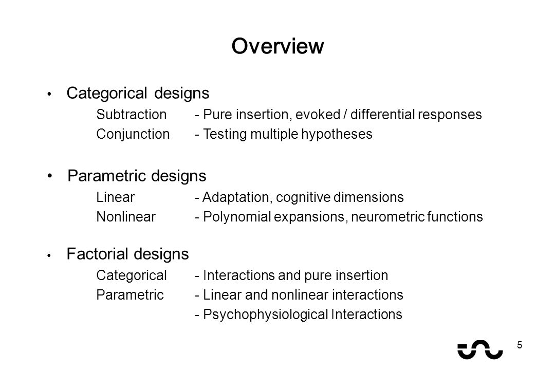 Categorical designs Subtraction - Pure insertion, evoked / differential responses Conjunction - Testing multiple hypotheses Parametric designs Linear - Adaptation, cognitive dimensions Nonlinear- Polynomial expansions, neurometric functions Factorial designs Categorical- Interactions and pure insertion Parametric- Linear and nonlinear interactions - Psychophysiological Interactions Overview 5