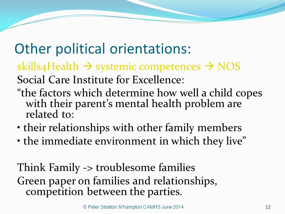 """12 Other political orientations: skills4Health  systemic competences  NOS Social Care Institute for Excellence: """"the factors which determine how wel"""