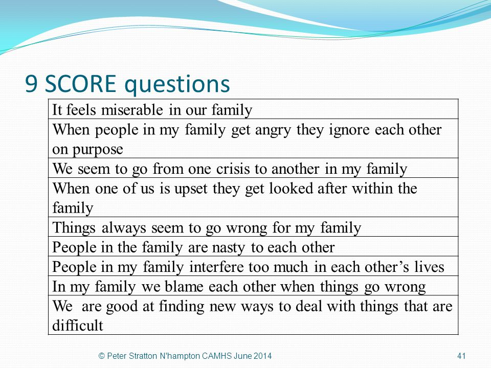 9 SCORE questions It feels miserable in our family When people in my family get angry they ignore each other on purpose We seem to go from one crisis