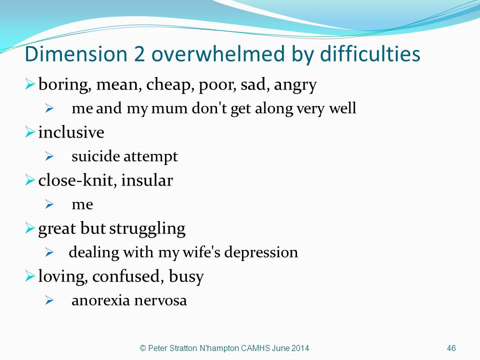 Dimension 2 overwhelmed by difficulties  boring, mean, cheap, poor, sad, angry  me and my mum don't get along very well  inclusive  suicide attemp