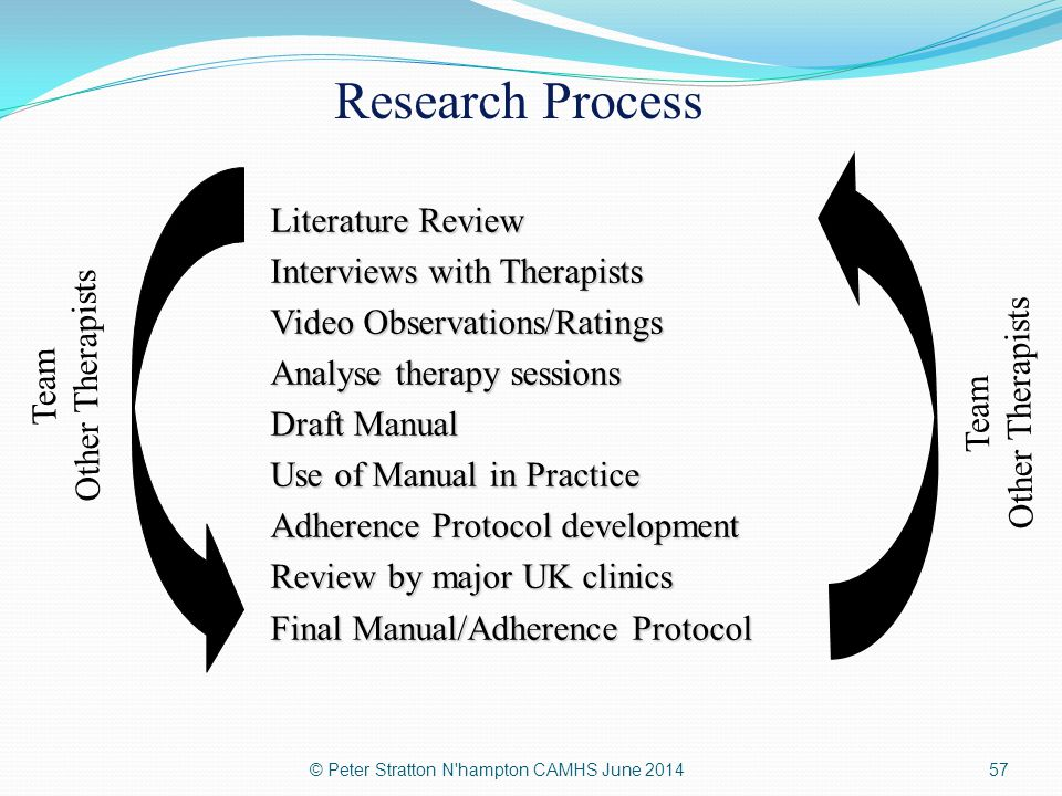 Literature Review Interviews with Therapists Video Observations/Ratings Analyse therapy sessions Draft Manual Use of Manual in Practice Adherence Prot