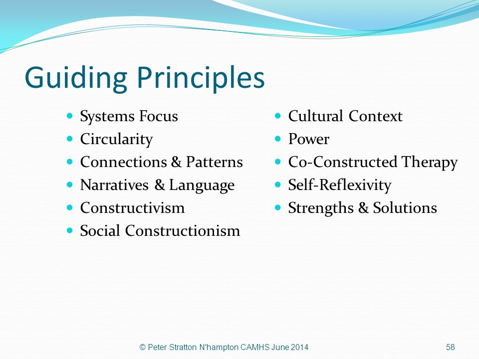 Guiding Principles Systems Focus Circularity Connections & Patterns Narratives & Language Constructivism Social Constructionism Cultural Context Power