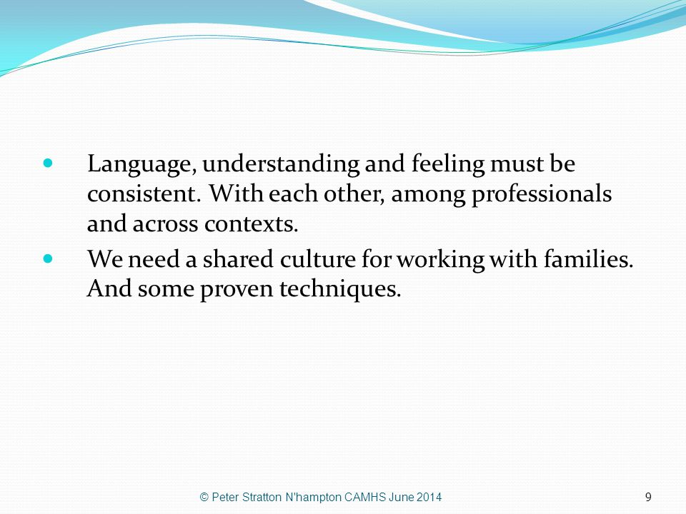 9 Language, understanding and feeling must be consistent. With each other, among professionals and across contexts. We need a shared culture for worki