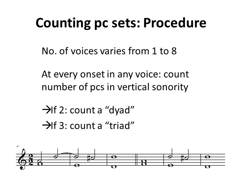 Counting pc sets: Procedure No.