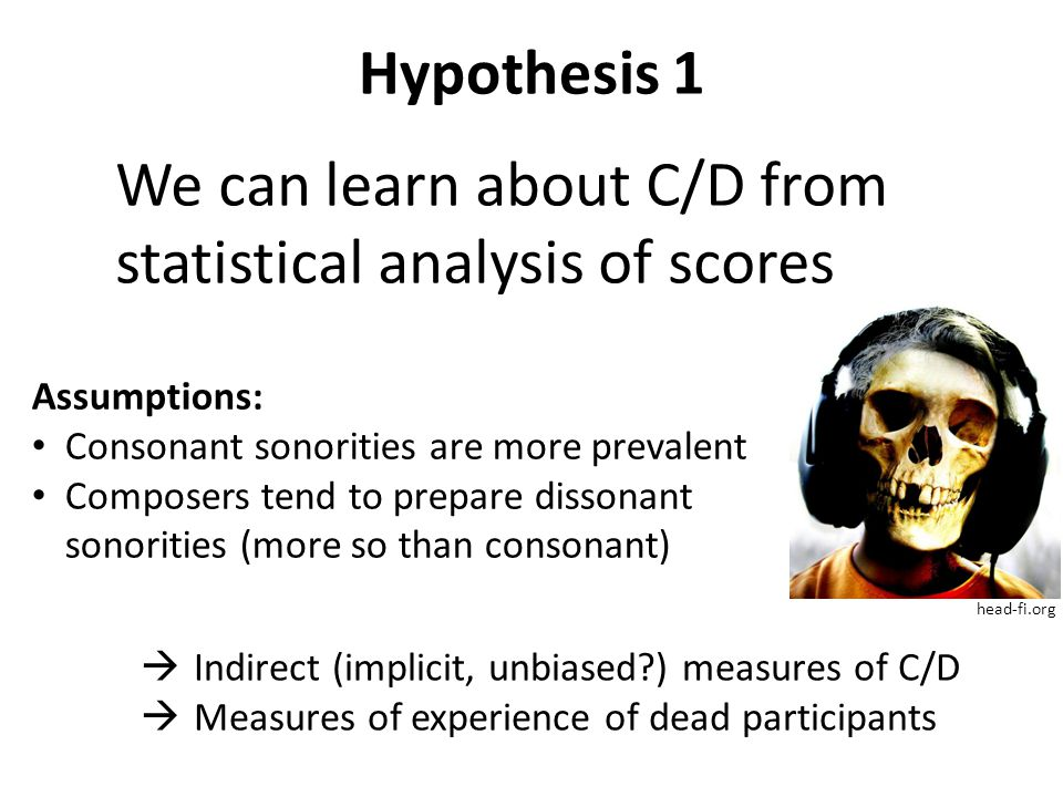 Hypothesis 1 head-fi.org We can learn about C/D from statistical analysis of scores  Indirect (implicit, unbiased ) measures of C/D  Measures of experience of dead participants Assumptions: Consonant sonorities are more prevalent Composers tend to prepare dissonant sonorities (more so than consonant)