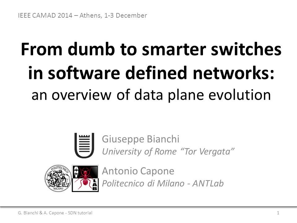 From dumb to smarter switches in software defined networks: an overview of data plane evolution Antonio Capone Politecnico di Milano - ANTLab G.