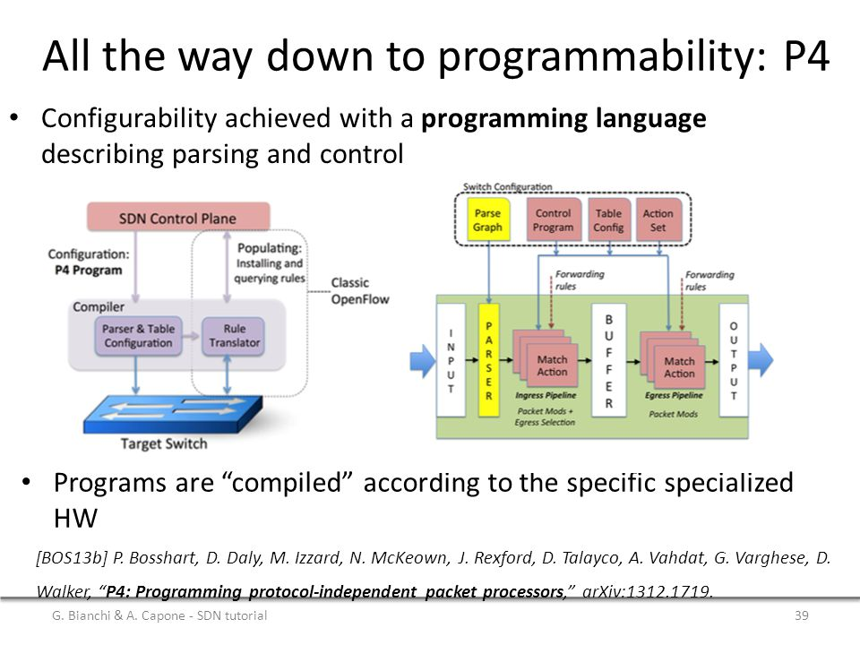 All the way down to programmability: P4 G.Bianchi & A.
