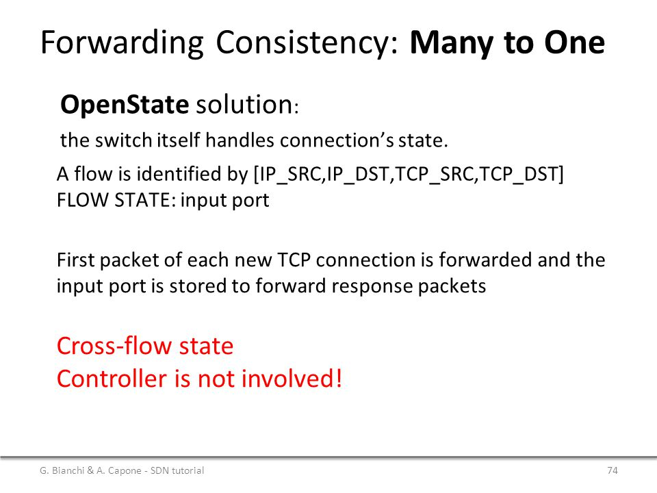 Forwarding Consistency: Many to One G. Bianchi & A. Capone - SDN tutorial74 Cross-flow state Controller is not involved! OpenState solution : the swit