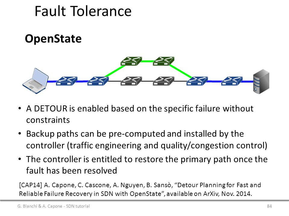 Fault Tolerance OpenState A DETOUR is enabled based on the specific failure without constraints Backup paths can be pre-computed and installed by the controller (traffic engineering and quality/congestion control) The controller is entitled to restore the primary path once the fault has been resolved G.