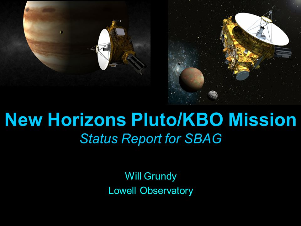 New Horizons: To Pluto and Beyond Pluto-Charon July 2015 KBOs 2016-2020 Jupiter System Feb-March 2007 The Initial Reconnaissance of The Solar System's Third Zone Launch Jan 2006 PI: Alan Stern (SwRI) Lead PS: Hal Weaver (JHU/APL) New Horizons is NASA's first New Frontiers Mission