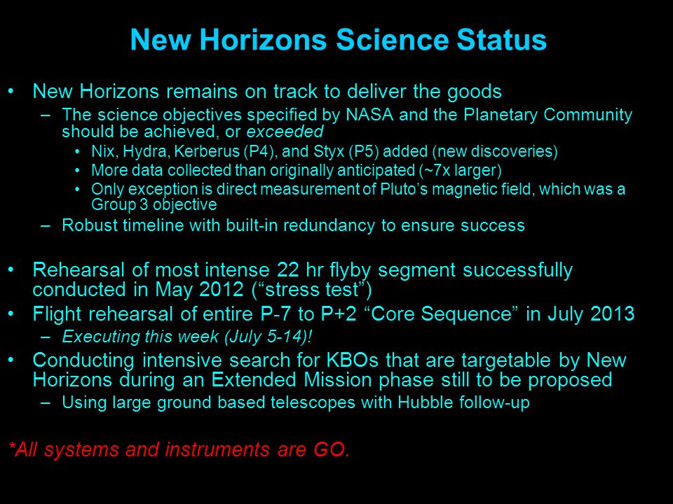 New Horizons Science Status New Horizons remains on track to deliver the goods –The science objectives specified by NASA and the Planetary Community s