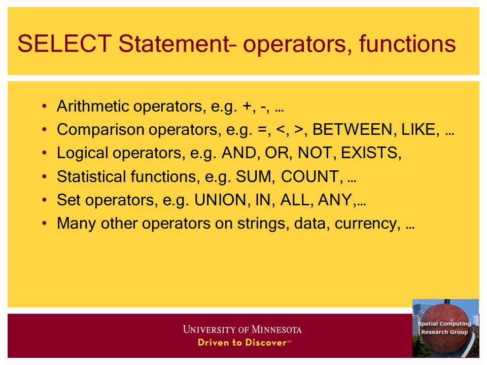 SELECT Statement– operators, functions Arithmetic operators, e.g.