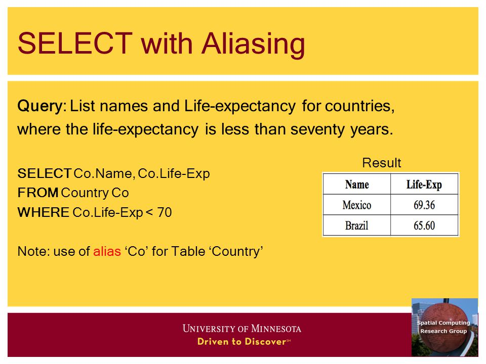 SELECT with Aliasing Query: List names and Life-expectancy for countries, where the life-expectancy is less than seventy years.